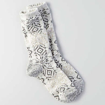 AEO Geo Snowflake Crew Socks, Light Heather