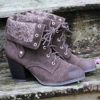 Winding Road Distressed Brown Fold Over Lace Up Heeled Ankle Booties