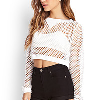 FOREVER 21 Open Knit Crop Top White