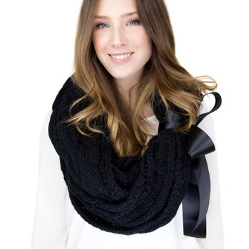 CHUNKY BLACK KNIT scarf infinity scarf with large satin bow cuff, black cable knit