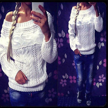 New Autumn Winter Sweater Tops Sexy Women Hollow Out Crochet Knitted Sweater Casual Off Shoulder Jumper Pullovers Tops M0455