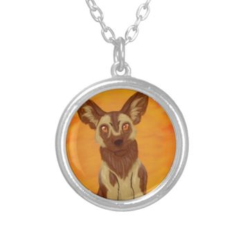 African Wild Dog Silver Plated Necklace