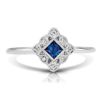 14k White Gold Couture Vintage Inspired Square Blue Sapphire & Diamond Ring