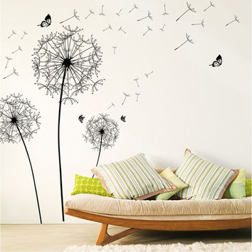 [Saturday Monopoly] diy home decor new design large black dandelion wall sticker art decals PVC wall decoration vinilos paredes