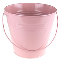 Metal Pail Buckets Party Favor, 7-inch, Light Pink