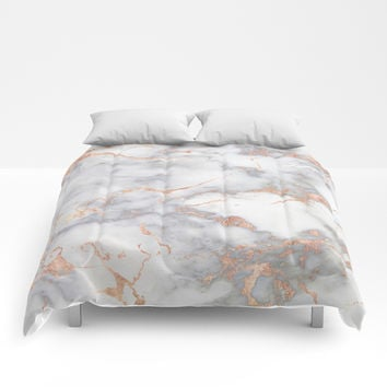 Grey Marble Rosegold Pink Metallic Foil Style Comforters by originalaufnahme