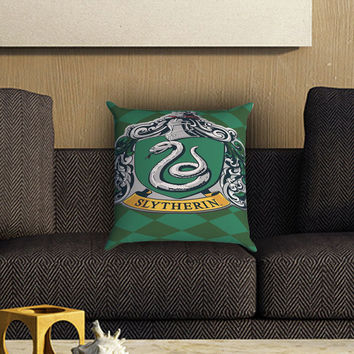 Hoghwart School - Slytherin Pillow Cover , Custom Zippered Pillow Case One Side Two SIde