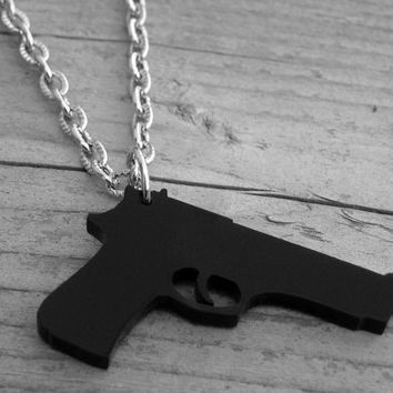 Black Gun Necklace Black Gun Jewelry Handgun Heavy Metal Punk Rock n Roll Rocker Rock and Roll Pistol Shotgun Lasercut Acrylic Laser Cut