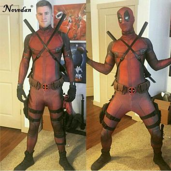 Cool High Quality Marvel Halloween Cosplay Deadpool Costume Adult Men Marvel Legends Mask Costume Suit Child Kids Deadpool CosplayAT_93_12
