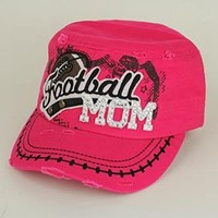 Rhinestone Bling Football Mom Cap Hat (Hot Pink)