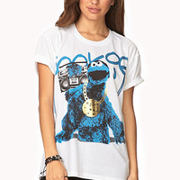 FOREVER 21 Gangsta Cookie Monster Tee Ivory/Blue Medium