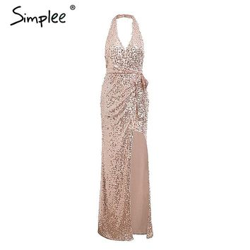 Simplee Sexy sequin backless women long party dress V neck sleeveless asymmetric split wrap dresses Bodycon vestidos 2018