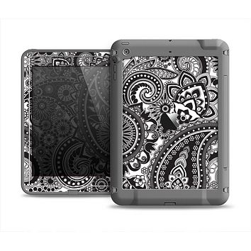 The Black and White Paisley Pattern V6 Apple iPad Air LifeProof Fre Case Skin Set