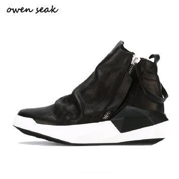Owen Seak Men Shoes High-TOP Ankle Boots Luxury Trainers Genuine Leather Sneaker Winter Boots Casual Brand Zip Flat Black Shoes