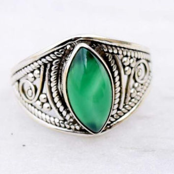 Green onyx ring, silver ring, stone ring,92.5 sterling silver, Silver Green onyx ring, Natural  Green onyx  stone Silver Ring, RNSLGO301
