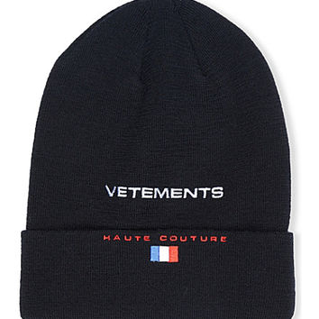 VETEMENTS Logo-embroidered cotton beanie