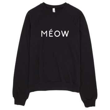 Meow Feline Typography Sweater Made in LA