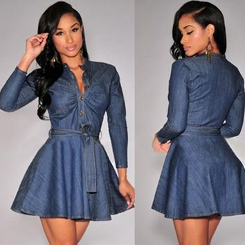 Sexy single-breasted denim long sleeved dress  7760892