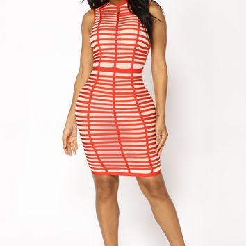 High Ball Midi Dress - Red