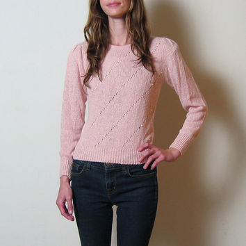 1980s pink SILK and ANGORA pearl sweater, xs