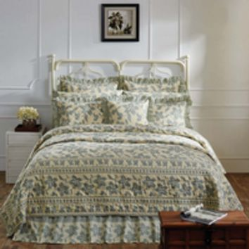 Briar - Sage - 6pc King - Combo II Set - Cotton Flax - Quilt, 2 Luxury Quilted Shams, Big Pillow & 2 Pillow Cases! - Spring 2017