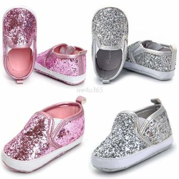 Baby Girl Sequins Glitter Crib Shoe Newborn Soft Sole Slip-On Prewalker Sneakers