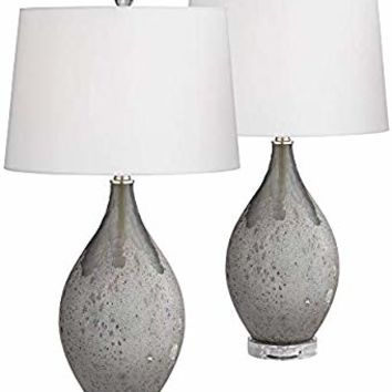 Volcanic Shimmer Smoke Gray Table Lamp Set of 2