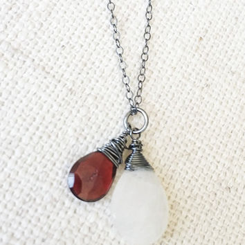 Garnet and Moonstone Necklace, Silver Garnet and Moonstone Necklace, Silver Garnet Necklace, Silver Moonstone Necklace,