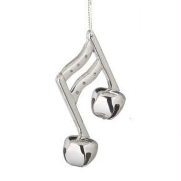 Jingle Bell Christmas Ornament - Silver Eight Music Note