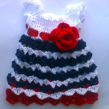crochet baby dress white red blue , patriotic , 4th of July, memorial day, first outfit, baby clothes, baby frock , newborn dress