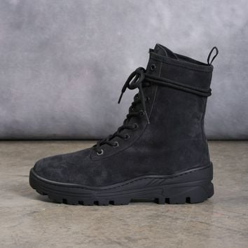 Thick Suede Combat Boot