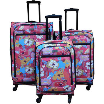 Chocolate New York Bright Flower 3-piece Spinner Luggage Set | Overstock.com Shopping - The Best Deals on Three-piece Sets