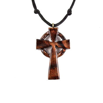 Cross Necklace, Celtic Cross Necklace, Celtic Cross Pendant, Celtic Wood Cross, Wood Cross Necklace, Christian Jewelry, Hand Carved Cross