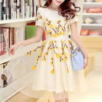Yellow Flowers Embroidery Short Sleeve High Quality Homecoming Cute Dress