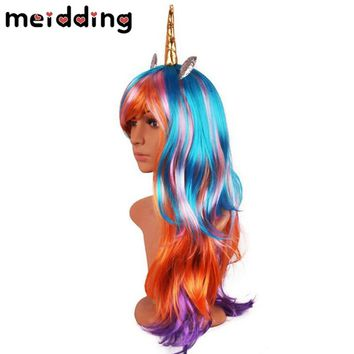MEIDDING 70cm Long Wavy Unicorn Cosplay Wigs Birthday Party Fake Hair Unicorn Wigs With Horn Synthetic Wigs Lolita Anime Decor