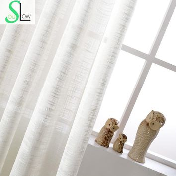 White Cotton Texture American Country Style Decorative Cloth Curtain French Tulle Curtains For Living Room Cortinas Sheer Tulle