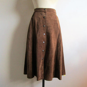 A-line 70s Suede Skirt Dark Brown Midi Snap Front 1970s Mexican Leather Skirt Medium