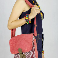 Coral Red abstract tribal native design Messenger Bag/Everyday Shoulder Bag/Ethnic Bag /Handwoven Bag /Hand Bag /Summer Bag /Crossbody Bag
