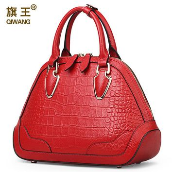 Qiwang Red Handbag Women Croc Crossbody Bag Genuine Leather Tote Bag Nice Hardware Soft Crocodile Handbag for Sales Online