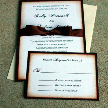 Shabby Chic Wedding Invitation, Rustic Wedding Invitations, Chocolate and cream Wedding Invitations, Burlap & Lace Wedding, Simple Elegance