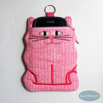 Cat Zipper Case, Phone Case, Pink