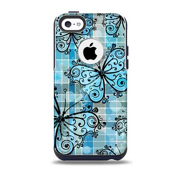 The Vibrant Blue Butterfly Plaid Skin for the iPhone 5c OtterBox Commuter Case