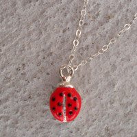 Red ladybug necklace, ladybug necklace, simple dainty necklace, sterling silver necklace, insect necklace, minimalist jewelry