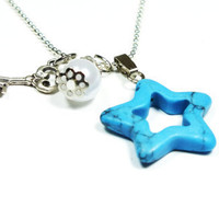 TURQUOISE STAR Necklace With Vintage Style Key and Pearl Bead, Fashion, Gift, Summer