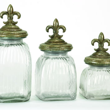 Polystone Glass Canister Set Of 3 With Flower Prints