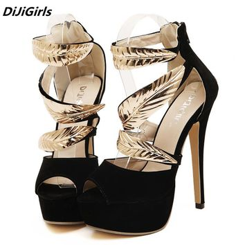 DiJiGirls Brand women golden Metal Leaves Sequined high heels sandals woman open toe platform roman party shoes black stilettos