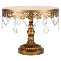 10 Inch Crystal-Draped Round Metal Cake Stand (Gold)