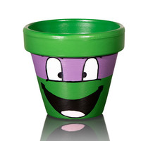 TMNT Donatello Hand Painted Flower Pot- 6 Inch Terracotta Pot , Birthday, Housewarming, Wedding, Christening Gift- Made to Order