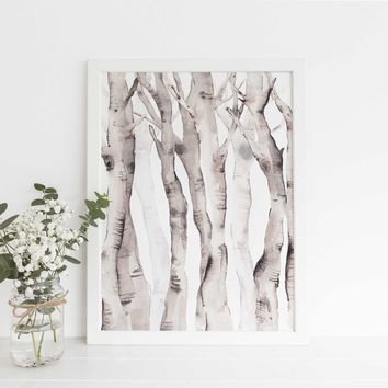 Watercolor Aspen Birch Tree Lodge Wall Art Print