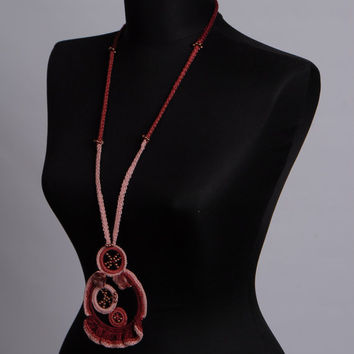 Knit jewelry set,Long pendant necklace,Crochet Burgundy Laryat,Crochet earrings,Any occasion necklace,One only,Gift for her,2017 trends